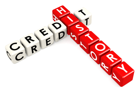 Credit history buzzword in red and white. 3D renderinghite