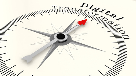 Compass with arrow pointing to the word Digital Transformation, 3D rendering Foto de archivo