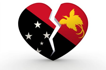 Broken white heart shape with Papua New Guinea flag, 3D rendering