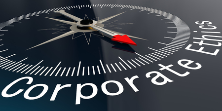 Compass with corporate ethics word. 3D rendering
