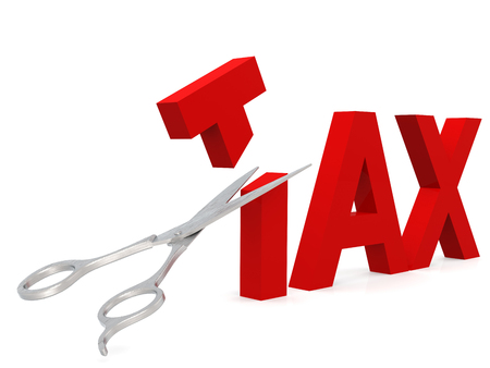 Cut tax with scissor isolated on white, 3D rendering Foto de archivo