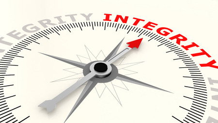Compass with arrow pointing to the word integrity. 3D rendering 스톡 콘텐츠