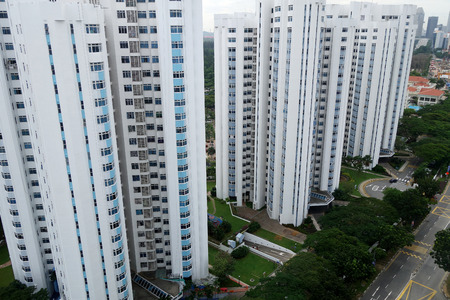 SINGAPORE- 10 DEC, 2017: Singapore typical apartment condominium housing in planned neighborhood community. Editorial