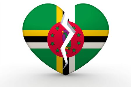 Broken white heart shape with Dominica flag, 3D rendering