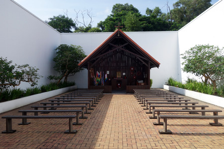 Singapore - DEC 12 2017: Replica Chapel built in Singapore in 1988 and relocated to Changi Museum in 2001. Changi Museum is a museum dedicated to Singapores history during the Second World War and the Japanese occupation Editorial