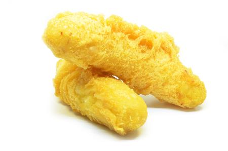 Fried banana dessert isolated on white background