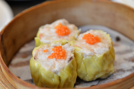 Famous dim sum, Siew Mai. Chinese steamed pork dumplings Stock Photo