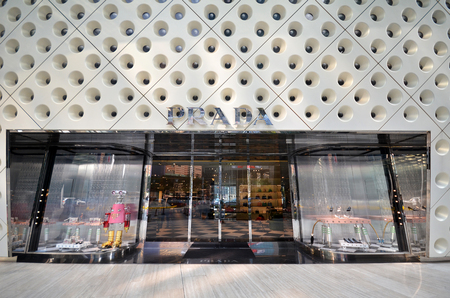 SHANGHAI, CHINA - DEC 26, 2017: View of Prada store in Shanghai, China. Prada is an Italian luxury fashion house