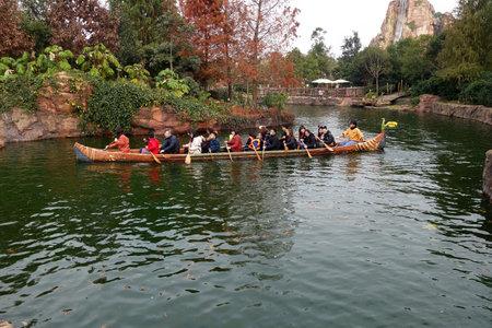 SHANGHAI, CHINA-JAN 08, 2018: Tourists enjoy activities inside the Shanghai Disneyland , China. It is the first Disney park resort in mainland China