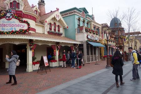 SHANGHAI, CHINA-JAN 08, 2018: Building in Disneyland park in Shanghai, China. Shanghai Disneyland Park is a theme park located in Pudong, Shanghai