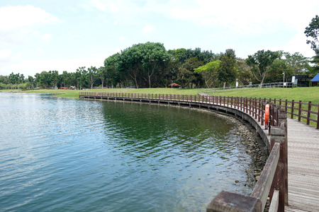 Bedok Reservoir Park. Bedok Reservoir is a reservoir in the eastern part of Singapore Stock fotó