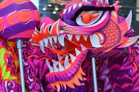 Close up of Chinese dragon used for the dragon dance. Stock Photo