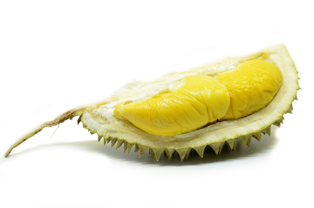 Durian fruit isolated on white background.The durian is distinctive for its large size strong odour and formidable thorn-covered rind. Stock Photo