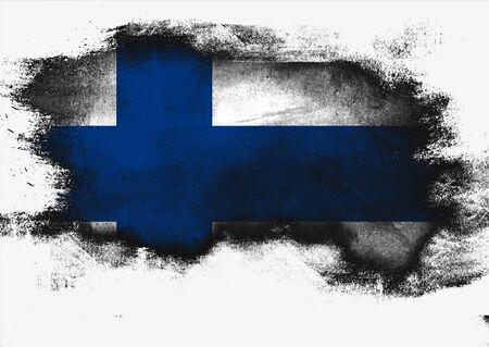 Finnland-Flagge gemalt mit Bürste auf weißem Hintergrund, Wiedergabe 3D