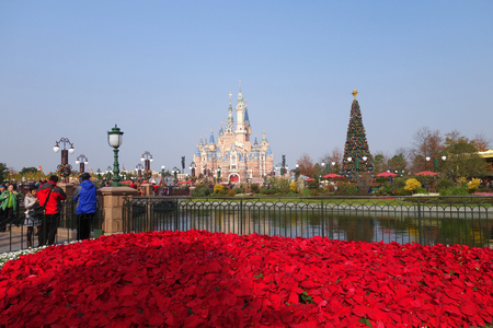 SHANGHAI, CHINA-JAN 08, 2018: Sleeping Beauty Castle in Disneyland park in Shanghai, China. Shanghai Disneyland Park is a theme park located in Pudong, Shanghai