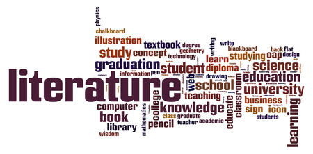 Literature word cloud concept on white background, 3d rendering. Stock Photo