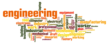 Engineering word cloud concept on white background, 3d rendering. Stock Photo