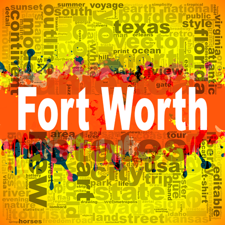Fort Worth word cloud design. Creative illustration of idea word lettering typography . 3D rendering.