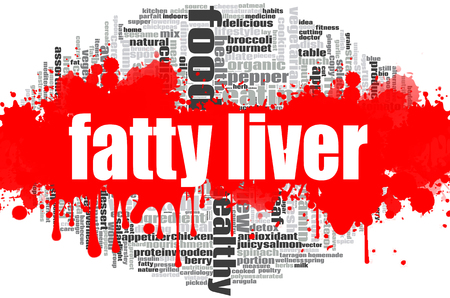 Fatty liver word cloud concept on white background, 3d rendering.
