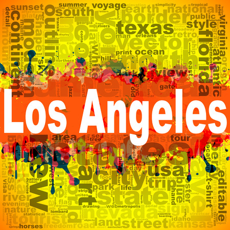 Los Angeles word cloud design. Creative illustration of idea word lettering typography . 3D rendering. Stock Photo