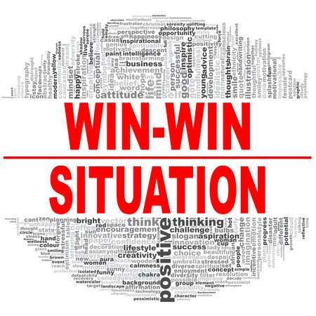 Win-win situation word cloud. Creative illustration of idea word lettering typography . 3D rendering.
