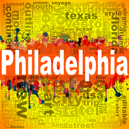 Philadelphia word cloud design. Creative illustration of idea word lettering typography . 3D rendering.