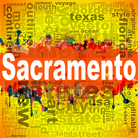Sacramento word cloud design. Creative illustration of idea word lettering typography . 3D rendering. Stock Photo