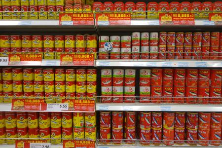 JOHOR, MALAYSIA-15 APR, 2018: Various of satin fish can food sold in supermarket in Johor Malaysia.