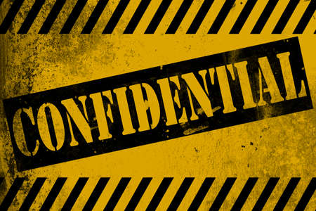 Confidential sign yellow with stripes, 3D rendering Stock Photo