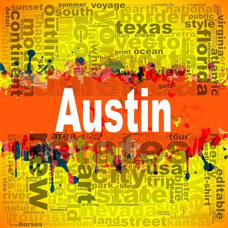 Austin word cloud design. Creative illustration of idea word lettering typography . 3D rendering Stock Photo