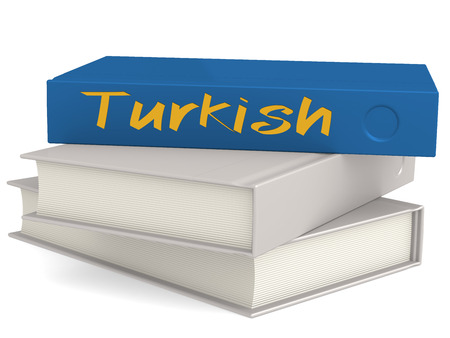 Hard cover books with Turkish word, 3D rendering