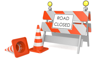 Road closed sign with traffic cones, 3D rendering. 3D rendering
