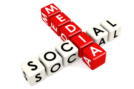 Social media buzzword in red and white, 3D rendering Stock Photo