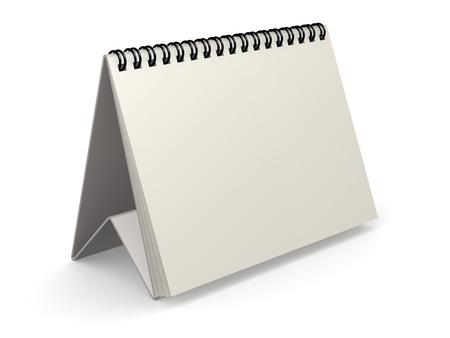 Blank white calendar on white, 3D rendering