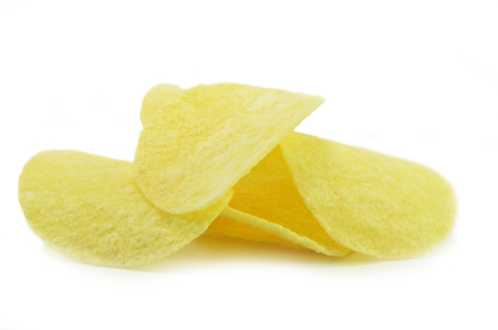 Potatoe chips isolated on pure white background