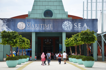 SINGAPORE -23 JUN 2018: : The Maritime Experiential Museum and Aquarium on Sentosa Island in Singapore. It showcases the maritime silk route that Singapore was an important part of