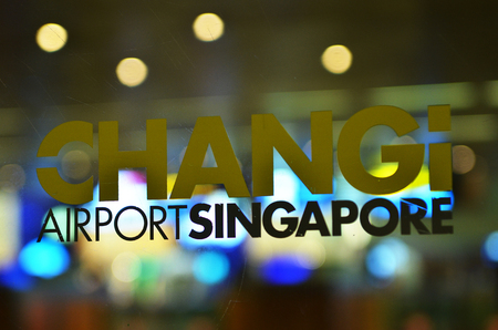 SINGAPORE-MAY 18, 2018: Close up shot of Singapore Changi Airport sign. Changi Airport is one of the largest transportation hubs in Southeast Asia.