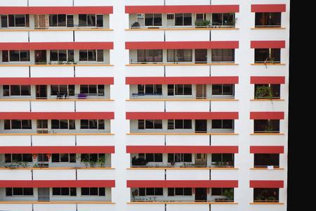Vorderansicht der traditionellen Wohnungen von Singapur, Singapur-Hausbeschaffenheitshintergrund