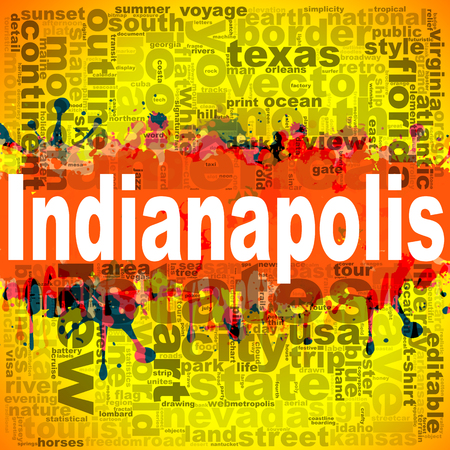 Indianapolis word cloud design. Creative illustration of idea word lettering typography . 3D rendering.