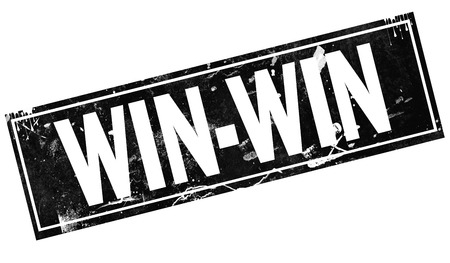 Win-win word with black frame, 3D rendering