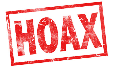 Hoax in red ink stamp, 3d rendering