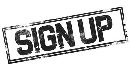 Sign up word with black frame, 3D rendering