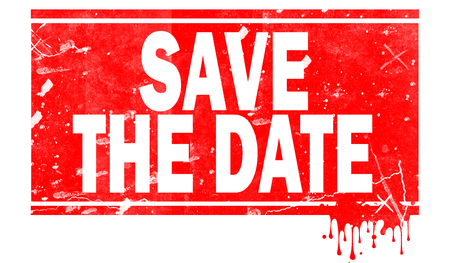Save the date word in red frame, 3D rendering