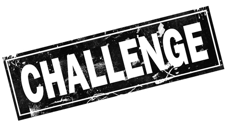Challenge word with black frame, 3D rendering