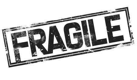 Fragile word with black frame, 3D rendering Banco de Imagens
