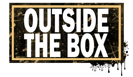 Outside the box word with black frame, 3D rendering