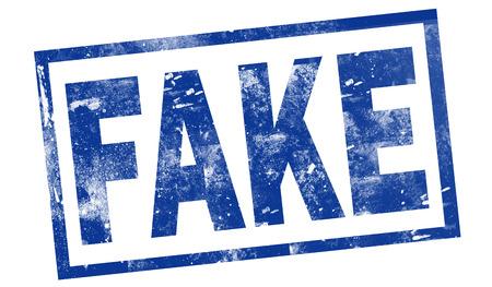Fake in blue ink stamp
