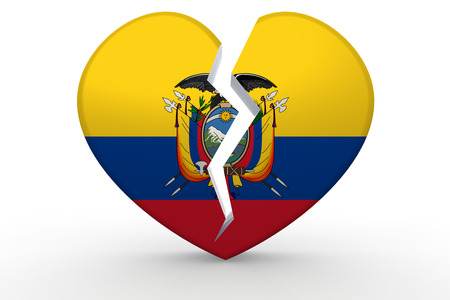 Broken white heart shape with Ecuador flag, 3D rendering
