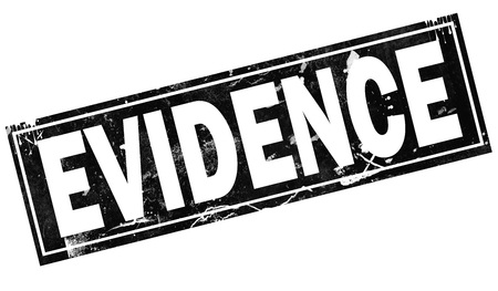Evidence word with black frame, 3D rendering