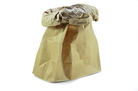 Brown paper package isolated on a white background